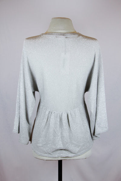 H&M Silver Button-Up Peplum Cardigan