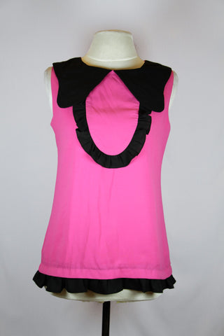 Miu Miu Pink Collared Blouse with Black Frills