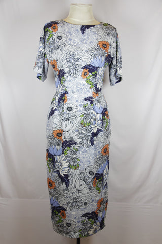 Asos Floral Blue And Orange Dress
