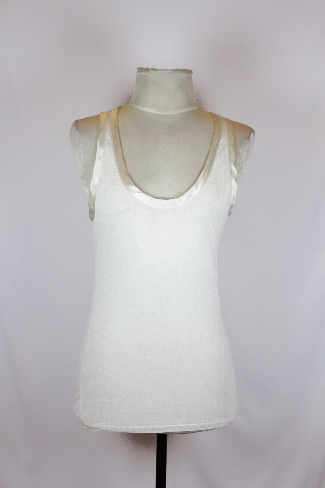 Zara White Lyocell Tank with Satin Trim