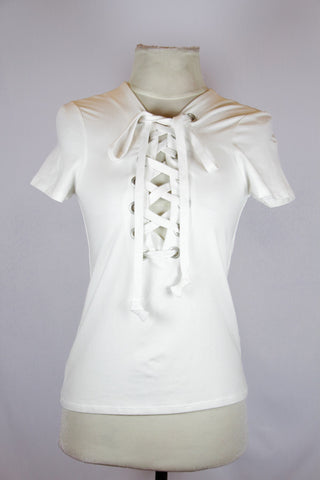 Forever 21 white with criss cross leash infront tee