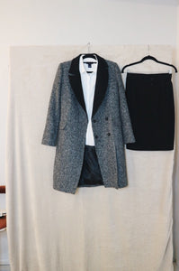 Threads Grey with Black Lapel Long Coat