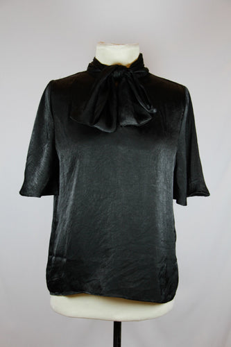 Mango black with tie leash blouse