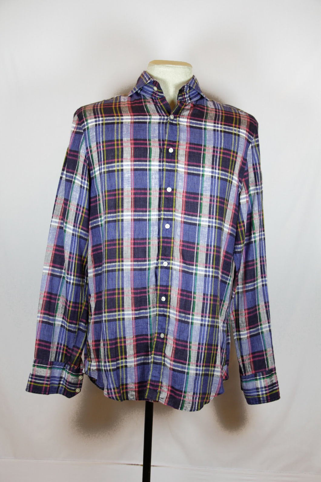 Kent & Curwen Blue Plaid Tailored Fit Shirt