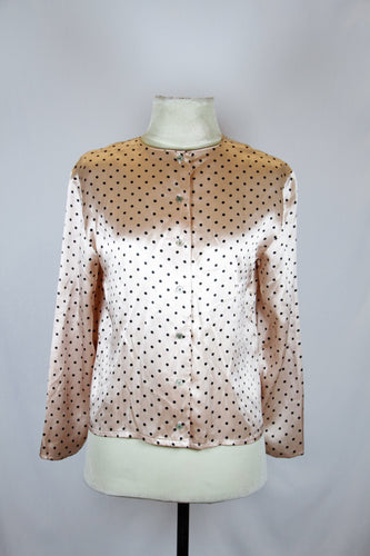 Nicole Miller Pink Long Sleeved Blouse with Black Polka Dots