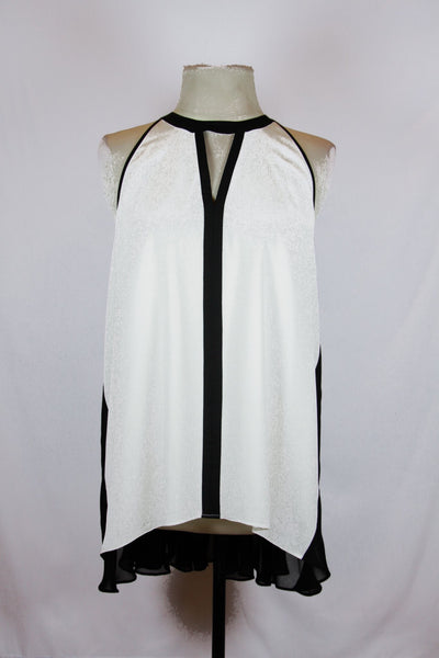 Kenneth Cole White Blouse with black sheer accent