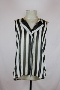 Jaspal Black Sheer Blouse with White Stripes