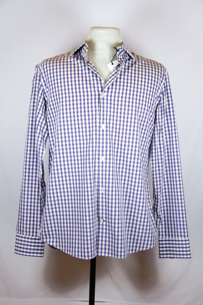 Banana Republic Violet Polo Shirt with White and Grey Checkered Design