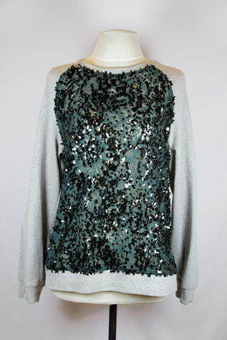 Zara Green Sweater with Black Embelishment