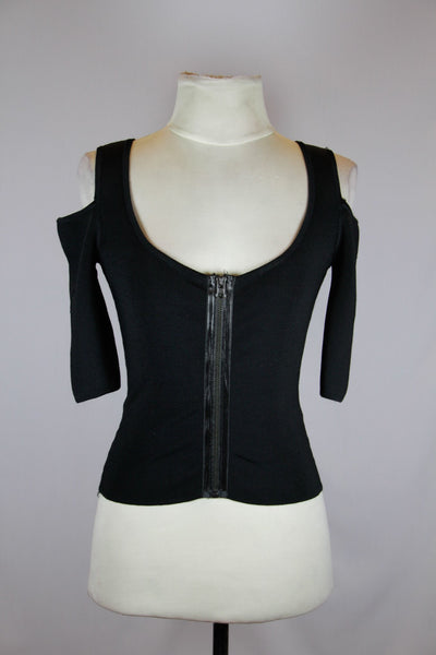 Bebe Black Crop Top with Front Zipper and Half Side Sleeves