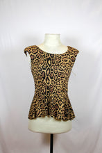 Lipsy Brown Blouse with Leopard Print Design and Back Cut Out