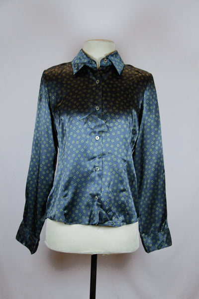 Marshall Lester Green Silk Blouse with Dice Print