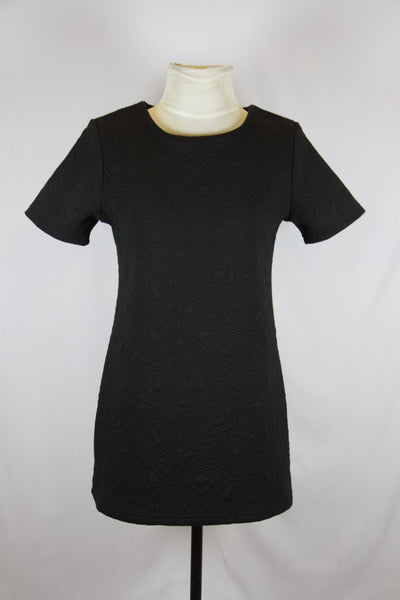Zoo Black Shift Dress with Patterned Design