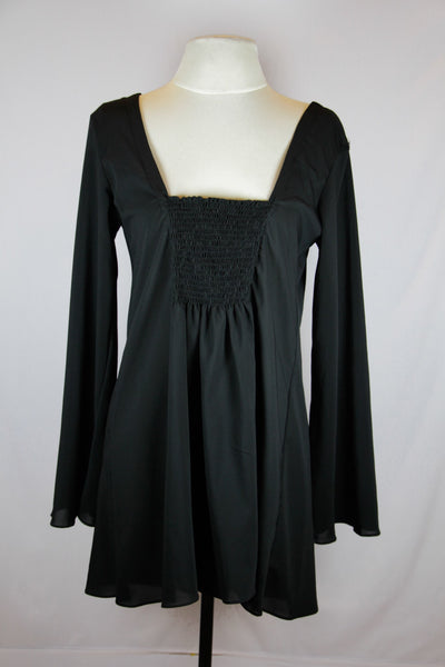 Threads Black Long Sleeved Blouse with low neckline