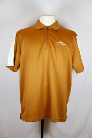Callaway Orange Collared Shirt with Patterned Design and Callaway Golf Logo