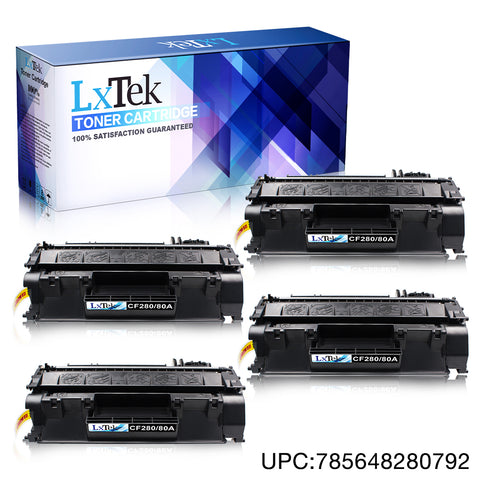 LxTek Compatible 80A CF280A M401dn Toner Cartridges Replacement for HP 80A CF280A 80X CF280X for HP LaserJet Pro 400 M401dn, M401dne, M401dw, M401n, M401d, MFP M425dn, M425dw Printer (Black, 4-Pack)