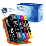 LxTek Remanufactured 902 Black 902XL Cyan Magenta Yellow Ink Cartridges T6M14AN Used in OfficeJet Pro 6968 6978 6962 6954 6960 6975 6978 6951 6970 6950 6979 6958 Printer (4 Pack, New Chip, High Yield)