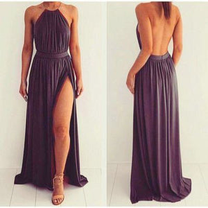 dusty purple prom Dress,slit Prom Dress,chiffon prom dress, backless prom dress,evening dress,BD607