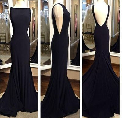 black prom Dress,backless Prom Dress,sheath prom dress,evening prom dress,long prom dress,BD613