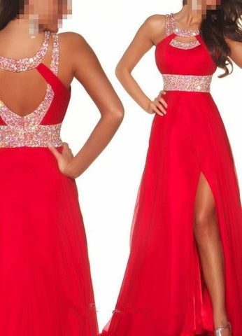 red Prom Dress,Long Prom Dress,open back Prom Dress,side slit Prom Dress,charming Prom Dress, BD2987