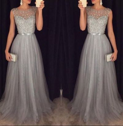 gray prom dress, charming prom dress, long prom dress, 2016 online prom dress, party dress, BD003