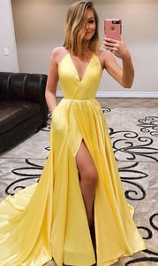 bright yellow simple v-neck side slit long prom dress, HO239