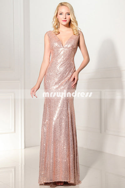 Gold Sequin bridesmaid dress,long bridesmaid dress, bridesmaid dress,SD351