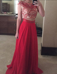 A-line Prom Dresses,Two Pieces Prom Dress,Charming Prom Dress,Floor Length Prom Dress,Cheap Prom Dress,PD0043