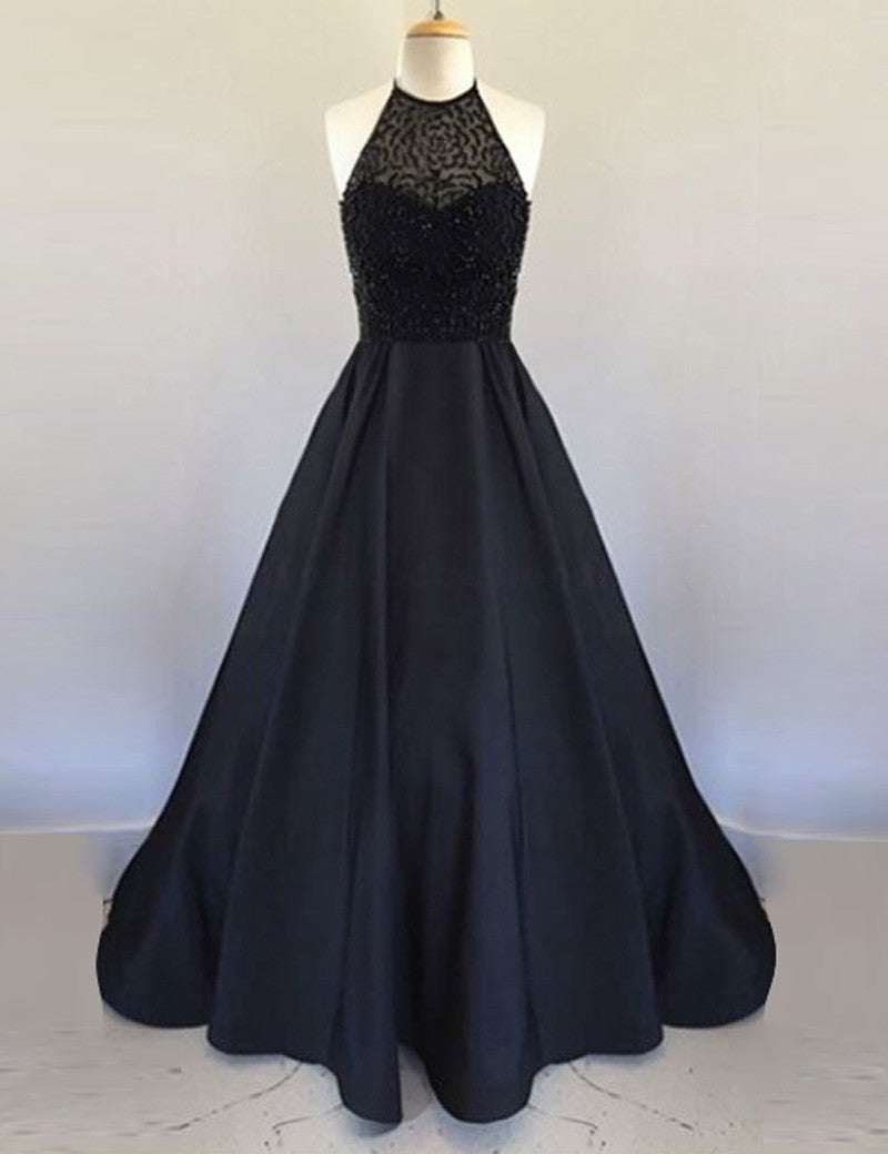 A-line Prom Dresses,Halter Prom Dress,Black Prom Dresses,Sleeveless Prom Dress,Cheap Prom Dresses,PD00178