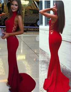 red prom dress,long Prom Dress,sexy prom dress,2017 evening dress,high neck evening dress,BD2921