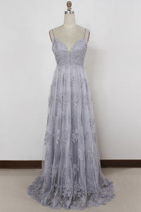 Sheath Spaghetti Straps Sweep Train Backless Lavender Tulle Prom Dress with Appliques,PD455841