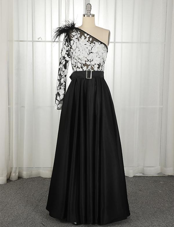 One Shoulder Long Sleeves Black Prom Dress With Belt Beading Evening Dress, BH91239