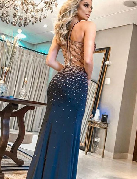 Gorgeous Straps Long Blue Prom Dress With Beading Mermaid Evening Dress, BH91238