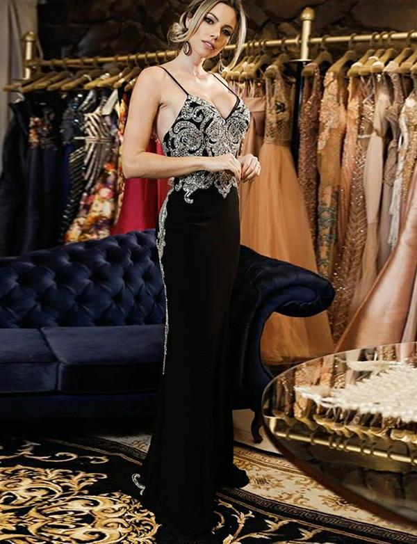 Spaghetti Straps Backless Long Evening Dress With Beading Black Prom Dress, BH91236