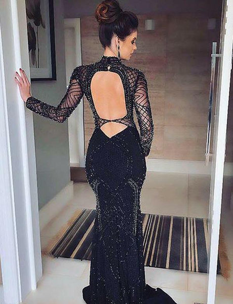 High Neck Open Back Black Prom Dress With Sleeves Beading Evening Gown, BH91235