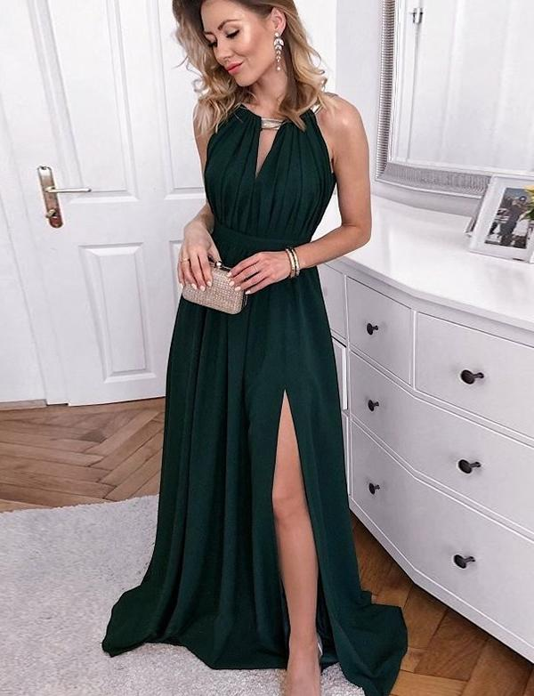Halter Open Back Long Dark Green Prom Dress With Keyhole Split, BH91245