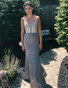 Spaghetti Straps Grey Prom Dress With Beading Open Back Mermaid Evening Dress, BH91249