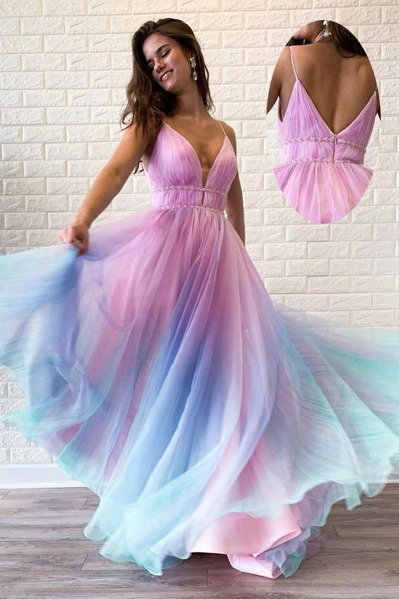 chic spaghetti straps v-neck colorful long prom dress, HO233