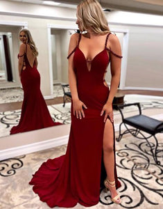 sexy burgundy off shoulder open back long evening dress wit side slit,HO193