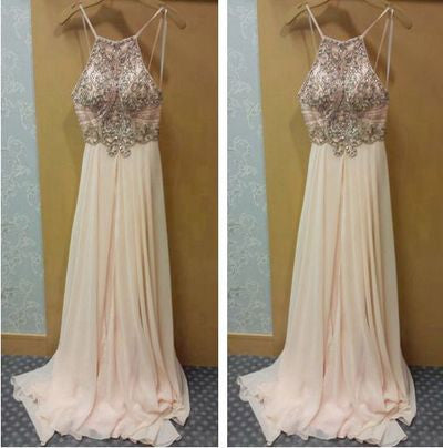 blush pink Prom Dresses,charming Prom Dress,long Prom dress,chiffon prom Dress,evening Dress,BD601