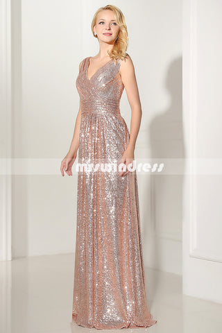 Gold Sequin bridesmaid dress,long bridesmaid dress, bridesmaid dress,SD349