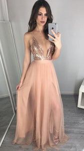 sexy prom dress, long prom dress, 2017 prom dress, sexy evening dress with slit, champagne prom dresses,PD45423