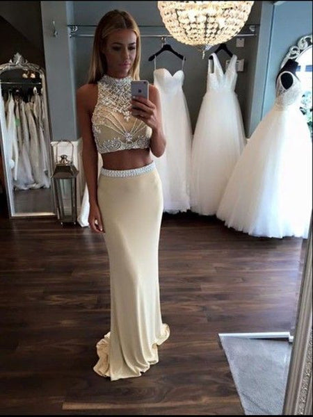 Two Pieces Prom Dresses,Handmade Prom Dress,Beading Prom Dresses,Mermaid Prom Dress,Cheap Prom Dresses,PD00156