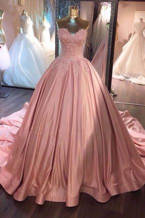 Sweetheart lace appliques pink satin long strapless A-line prom dress, ball gown, PD4558897
