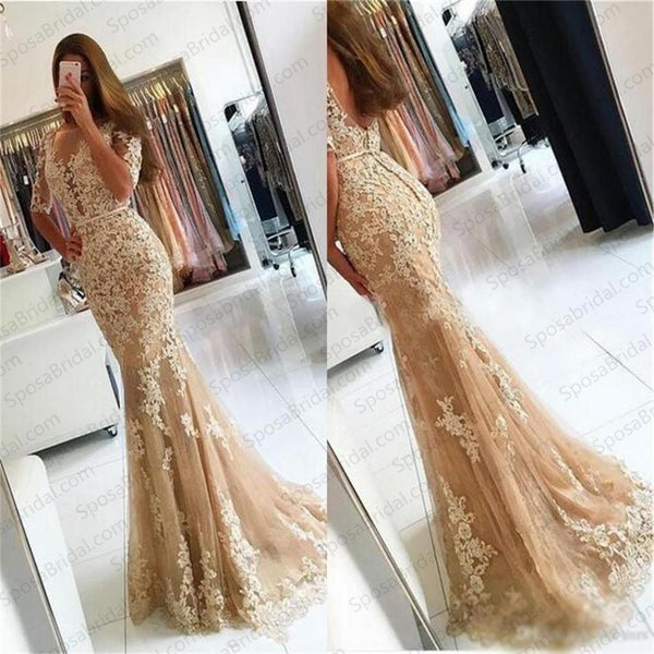 Charming Lace Yellow Mermaid Popular Prom Dress, Half Sleeves Prom Dresses, Evening Dress,BD51466