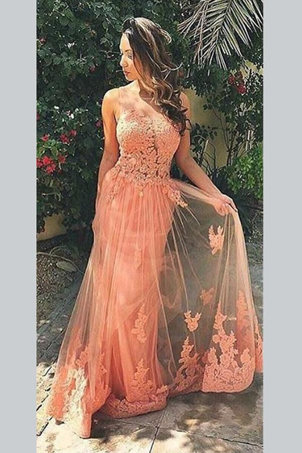 Save Peach A Line Sweep Train Sheer Neck Sleeveless Backless Appliques Prom Dress,Formal Dresses,BD45620