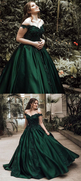 dark green wedding dress,emerald green prom dress,ball gown prom dress,off the shoulder wedding dresses,PD455877