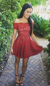 Stylish A-Line Off-Shoulder Red Lace Short Homecoming Dresses,PD455847