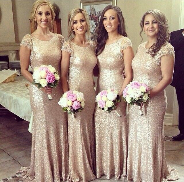 Sequin bridesmaid dress,long bridesmaid dress,glittery bridesmaid dress,cap sleeves bridesmaid dress,BD029