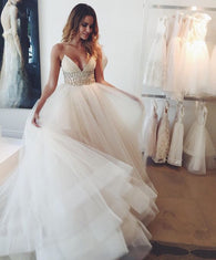 Gorgeous Wedding Dress,Spaghetti Straps Wedding Dress,Charming wedding Dress,Elegant Wedding Dress,2017 Wedding Dress,PD00153